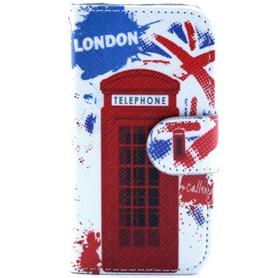 ФОТО Telephone Booth Pattern Cover PU + TPU Case Protector with Stand Function Card Holder for iPhone 4 4S