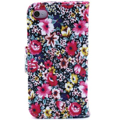Гаджет   Flower Pattern Cover PU + TPU Case Protector with Stand Function Card Holder for iPhone 4 4S iPhone Cases/Covers