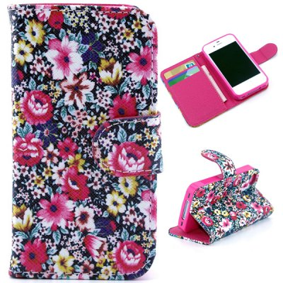 ФОТО Flower Pattern Cover PU + TPU Case Protector with Stand Function Card Holder for iPhone 4 4S