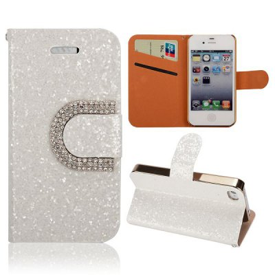 Гаджет   Glitter Diamond Surface PU Cover Case Protector with Card Holder Stand Function for iPhone 4 4S iPhone Cases/Covers