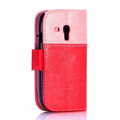 Гаджет   Smiling Face Pattern Magnetic Flip Stand PU Leather Case for Samsung Galaxy S3 Mini i8190 Samsung Cases/Covers