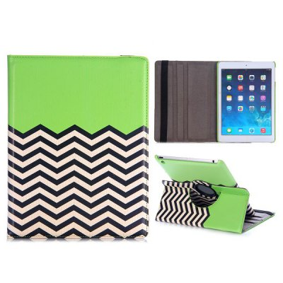 360 Rotating Wave Design Cover Protector PU + PC Case with Stand Function for iPad Air