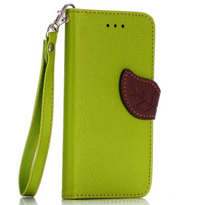 ФОТО Lichee Pattern Cover TPU + PU Case with Leaf Magnetic Buckle Card Holder Stand Function for iPhone 6  -  4.7 inch