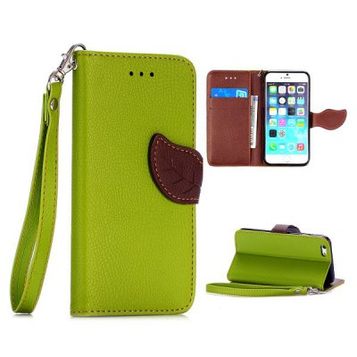 Гаджет   Lichee Pattern Cover TPU + PU Case with Leaf Magnetic Buckle Card Holder Stand Function for iPhone 6  -  4.7 inch