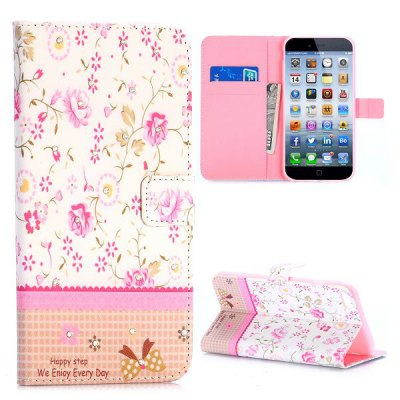 Flower Style PU + TPU Case Protective Cover with Card Holder Stand Function for iPhone 6 Plus  -  5.5 inch