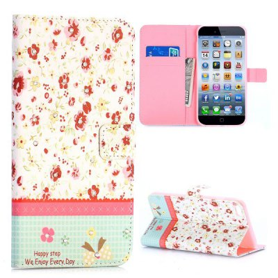 ФОТО Flower Style PU + TPU Case Protective Cover with Card Holder Stand Function for iPhone 6 Plus  -  5.5 inch