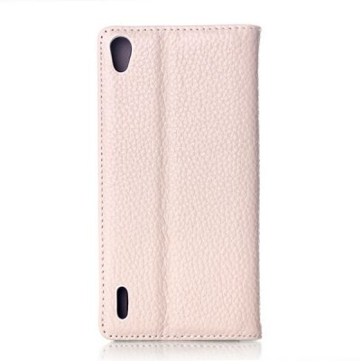 Фотография Casual Style Lichee Pattern Design Phone Cover PU Case Skin with Stand Function for HuaWei Ascend P7