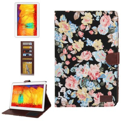 Pretty Peony Pattern Foldable Flip Stand Leather Case