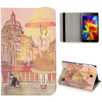 Girl and Castle Pattern Flip Foldable Stand Elastic Belt PU Leather Case