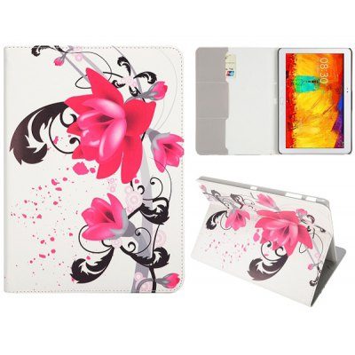 Foldable Folio Card Slots Stand Leather Case with Lotus Pattern for Samsung Galaxy Note 10.1 2014 Edition P600