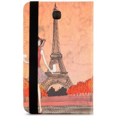 Фотография Flip Foldable Stand Elastic Belt PU Leather Girl and Tower Pattern for Samsung Galaxy Tab 4 7.0 T230 T231 T235