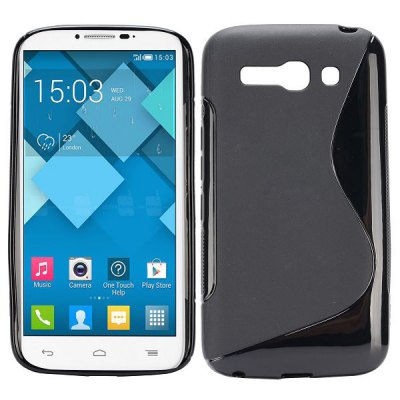 S Shape TPU Back Cover Case for Alcatel One Touch Pop C9 Dual 7047D