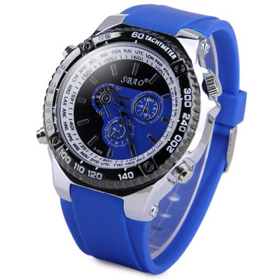 Гаджет   S - 409 Large Dial Rubber Band Sports Watch with Decorative Small Sub - dial Men