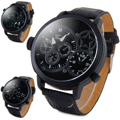 Time Men Quartz Watch Analog Dual Time Wristwatch Leather BandMens Watches<br>Time Men Quartz Watch Analog Dual Time Wristwatch Leather Band<br><br>Watches categories: Male table<br>Watch style: Fashion<br>Available color: Black, White, Green<br>Movement type: Quartz watch<br>Shape of the dial: Round<br>Display type: Analog<br>Case material: Stainless steel<br>Band material: Leather<br>Clasp type: Pin buckle<br>Special features: Decorating small sub-dials<br>The dial thickness: 1.3 cm / 0.51 inches<br>The dial diameter: 5.5 cm / 2.16 inches<br>The band width: 2.2 cm / 0.87 inches<br>Product weight: 0.074 kg<br>Package weight: 0.124 kg<br>Product size (L x W x H): 26.8 x 5.5 x 1.3 cm / 10.53 x 2.16 x 0.51 inches<br>Package size (L x W x H): 27.8 x 6.5 x 2.3 cm / 10.93 x 2.55 x 0.90 inches<br>Package Contents: 1 x Time Watch