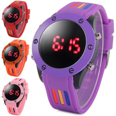 Outdoor Sports LED Watch Red Digital Wristwatch Date Display Rubber Band