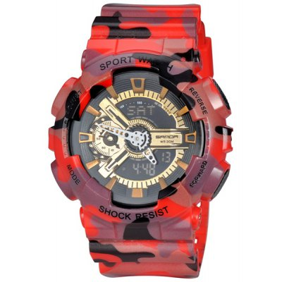 SanDa 299 Camouflage LED Military Watch Dual - movt Water Resistant Muliti - function for Outdoor Sports