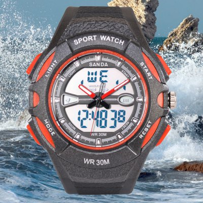 SanDa 707 Water Resistant Wristwatch Analog Digital LED Military Watch Multifunction for Outdoor Sports