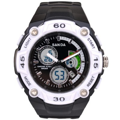 SanDa 708 Military Dual - movt Watch Water Resistant Day Date Alarm LED Watches for Outdoor Sports