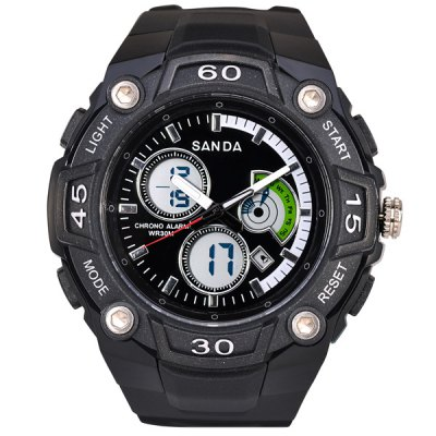 Фотография SanDa 708 Military Dual - movt Watch Water Resistant Day Date Alarm LED Watches for Outdoor Sports