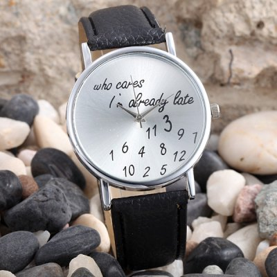 Words and Numbers Dial Women Quartz Watch