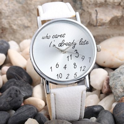 Words and Numbers Dial Quartz Watch Leather Strap Round Dial for Women