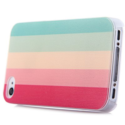 ФОТО Colorful Stripe Style Protective Back Cover Case with PC Material for iPhone 4 / 4S