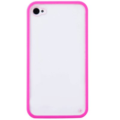 ФОТО Transparent Style Protective Back Cover Case with PC Material Solid Color Bumper Frame for iPhone 4 / 4S