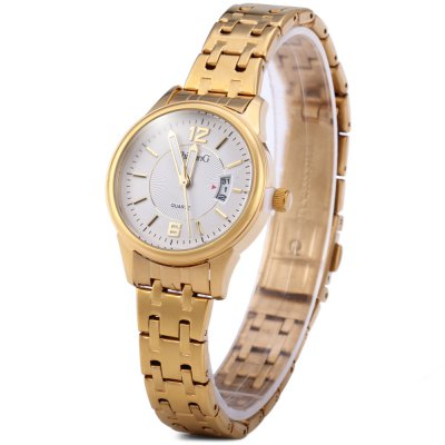 ShiLonG 8096L Women Date Luminous Quartz Watch Japan Movt Round Dial Steel Strap with Water Resistant Design