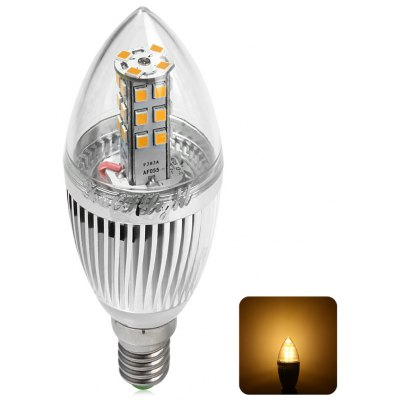 YouOKLight 5W E14 SMD 2835 28 LEDs 450LM Warm White Silver Flamed LED Candle Lamp