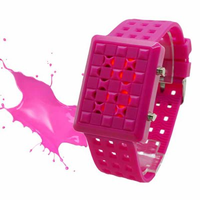 Фотография LED Rubber Bracelet Sports Watch with Grid Rectangle Dial