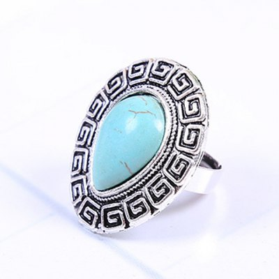Retro Womens Turquoise Decorated Drop RingRings<br>Retro Womens Turquoise Decorated Drop Ring<br><br>Gender: For Women<br>Metal Type: Alloy<br>Style: Trendy<br>Shape/Pattern: Water Drop<br>Metal Color: Antique Silver Plated<br>Weight: 0.080KG<br>Package Contents: 1 x Ring