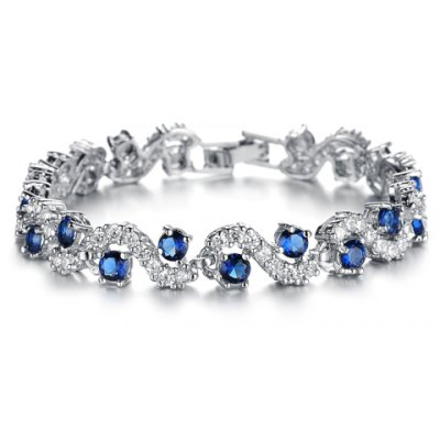 Sweet Cute Women's Cubic Zirconia Inlaid Wavy Bracelet