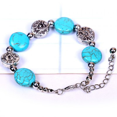 Фотография Retro Style Turquoise Round Design Bracelet For Women