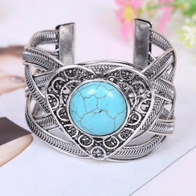 Fashionable Turquoise Decorated Heart Shape Openwork Bracelet For Women