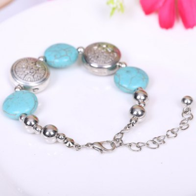 Stylish Womens Round Beads Turquoise BraceletBracelets &amp; Bangles<br>Stylish Womens Round Beads Turquoise Bracelet<br><br>Item Type: Charm Bracelet<br>Gender: For Women<br>Chain Type: Link Chain<br>Style: Trendy<br>Shape/Pattern: Round<br>Length: 21CM<br>Weight: 0.070KG<br>Package Contents: 1 x Bracelet