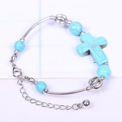Stylish Women's Turquoise Cross Bracelet