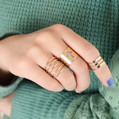 3PCS Chic Women's Solid Color Openwork Rings