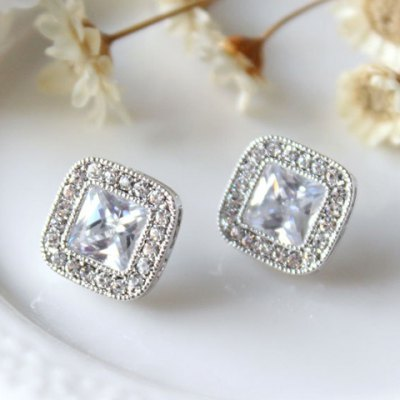 Square Shape Rhinestone Earrings
