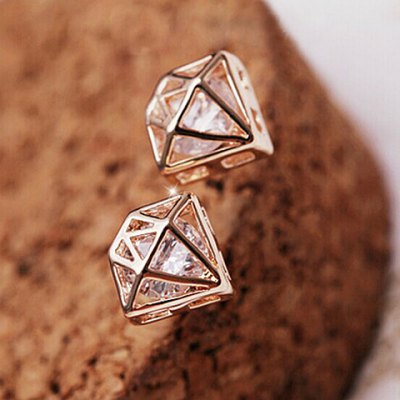 Pair of Crown Shape Rhinestone Openwork Earrings