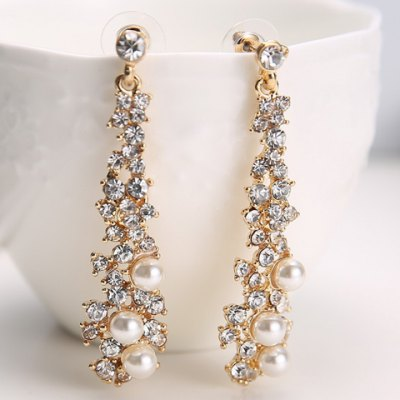 Pair of Alloy Rhinestone Faux Pearl Drop Earrings
