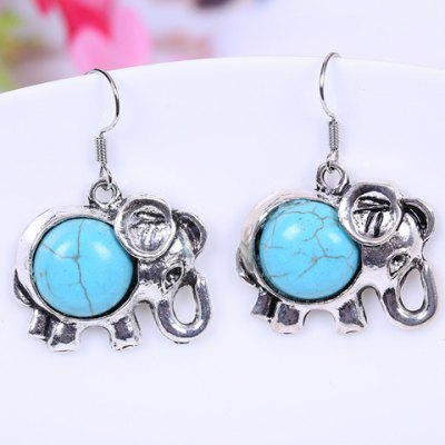 Pair of Stylish Women's Turquoise Elephant Design Earrings
