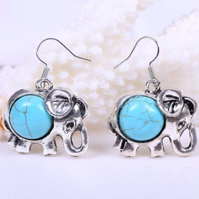 Pair of Ethnic Faux Turquoise Elephant Design Drop Earrings