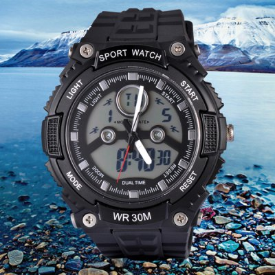 SanDa 709 Military Dual - movt Watch Water Resistant Muliti - function LED Watches for Outdoor Sports