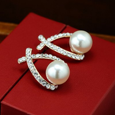 Pair of Charming Faux Pearl and Rhinestone Embellished Earrings For Women
