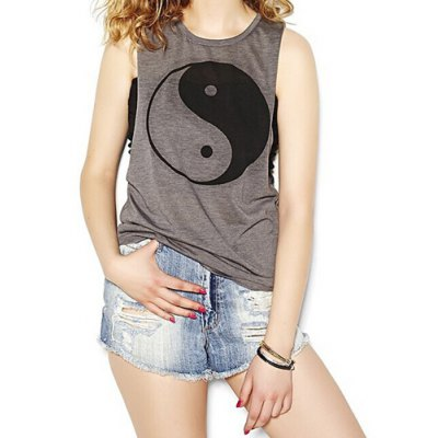 Jewel Neck Printed Tank Top For Women