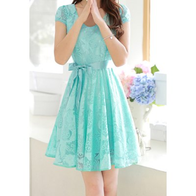 V-Neck Short Sleeves Solid Color Lace Dress For Women