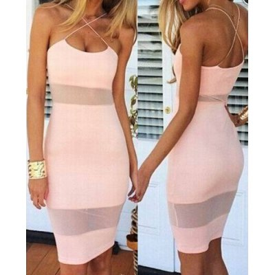 Spaghetti Strap Candy Color Dress For Women
