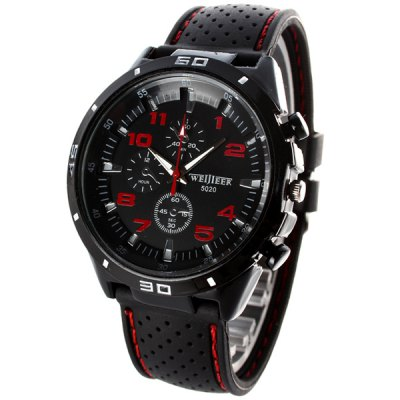 Weijieer 5020 Analog Quartz Watch Rubber Band Round Dial for MenMens Watches<br>Weijieer 5020 Analog Quartz Watch Rubber Band Round Dial for Men<br><br>Watches categories: Male table<br>Watch style: Fashion<br>Available color: White,Red,Yellow<br>Movement type: Quartz watch<br>Shape of the dial: Round<br>Display type: Analog<br>Case material: Alloy<br>Band material: Rubber<br>Clasp type: Pin buckle<br>Special features: Decorating small sub-dials<br>The dial thickness: 0.6 cm / 0.24 inches<br>The dial diameter: 4.8 cm / 1.89 inches<br>The band width: 2.2 cm / 0.87 inches<br>Product weight: 0.076 kg<br>Package weight: 0.096 kg<br>Product size (L x W x H): 26.50 x 4.80 x 0.60 cm / 10.43 x 1.89 x 0.24 inches<br>Package size (L x W x H): 27.50 x 5.80 x 1.60 cm / 10.83 x 2.28 x 0.63 inches<br>Package Contents: 1 x Watch