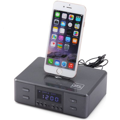 D9 8 Pin 30 Pin and Micro USB Interface Wireless Bluetooth Radio Alarm Clock Speaker System