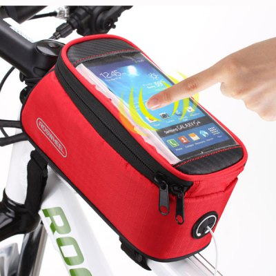 Roswheel 4.2 inch Bike Front BagBike Bags<br>Roswheel 4.2 inch Bike Front Bag<br><br>Color: Black,Red,Blue,Yellow<br>For: Cycling<br>Material: Polyester, PVC<br>Package Contents: 1 x Bike Phone Saddle Bag, 1 x Cable<br>Package size (L x W x H): 23.00 x 12.00 x 10.00 cm / 9.06 x 4.72 x 3.94 inches<br>Package weight: 0.201 kg<br>Product weight: 0.160 kg<br>Type: Saddle Bag